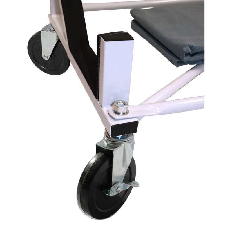 "Heavy-duty Hardtop Stand Trolley Cart Rack (White) with 5"" castors, Securing Harness and Hard Top Dust Cover (050c)"