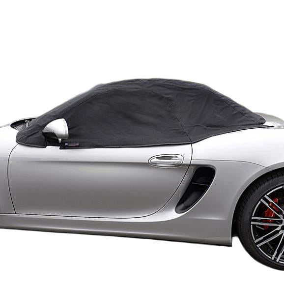 Soft Top Roof Protector Half Cover for Porsche Boxster 981 - 2012 to 2016 (288) - BLACK