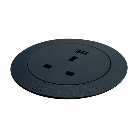 Saxen In-Desk Power Outlet with single USB Smart-Charge