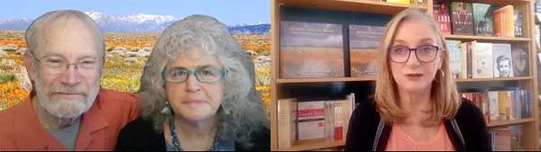 Rob Badger and Nita Winter in virtual talk hosted by Cheryl Popp the owner of Sausalito books by the Bay. A 27 year wildflower journey the making of beauty and the beast California wildflowers and climate change