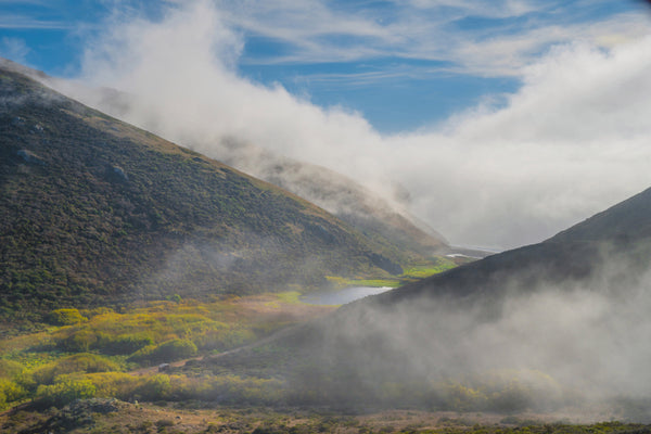 Fog flows into lower Tennessee Valley as seen from the Coastal Trail at the Golden Gate National Recreation Area.