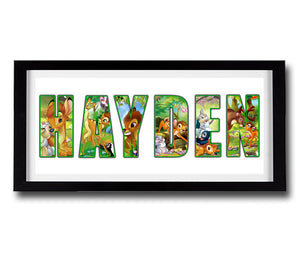 BAMBI Personalised Name Print - Fully Framed - Disney