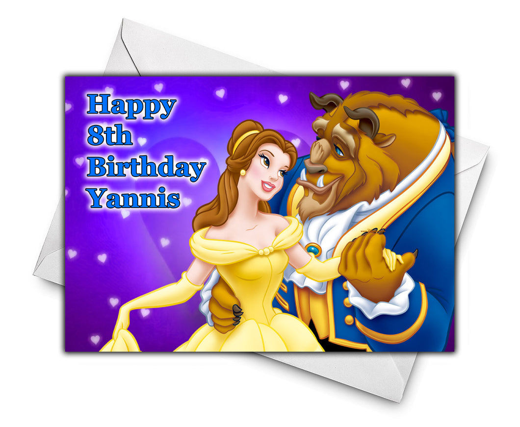 BEAUTY AND THE BEAST Personalised Birthday Card - Disney