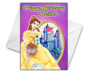 BELLE BEAUTY AND THE BEAST Personalised Birthday Card - Disney