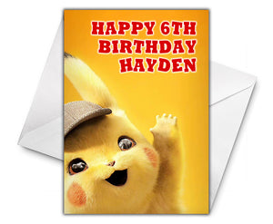 DETECTIVE PIKACHU Personalised Birthday Card - Pokemon - D2