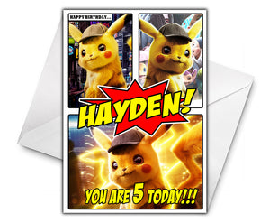 DETECTIVE PIKACHU COMIC Personalised Birthday Card