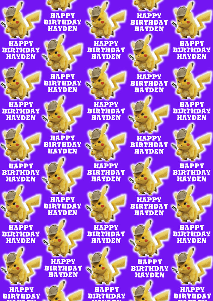 PIKACHU POKEMON Personalised Wrapping Paper - D2