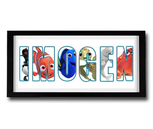 FINDING DORY Personalised Name Print - Fully Framed - Disney