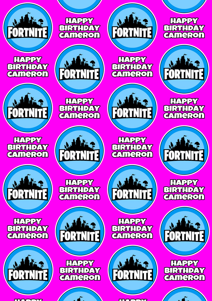 FORTNITE V-BUCKS PINK Personalised Wrapping Paper