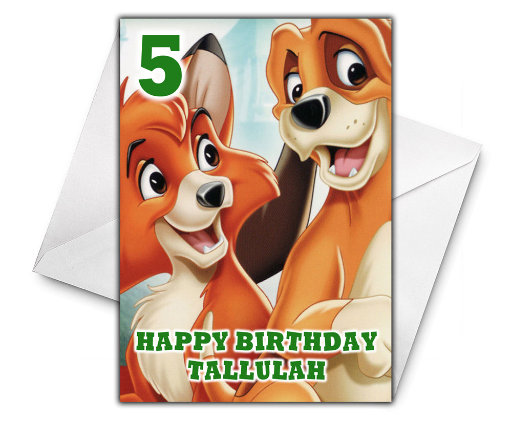 FOX AND THE HOUND Personalised Birthday Card - Disney