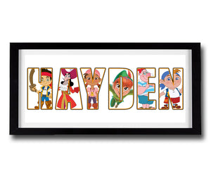 JAKE NEVERLAND PIRATES Personalised Name Print - Fully Framed - Disney