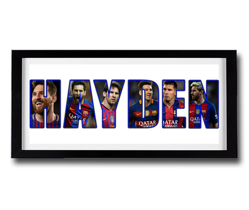 LIONEL MESSI Personalised Name Print - Fully Framed