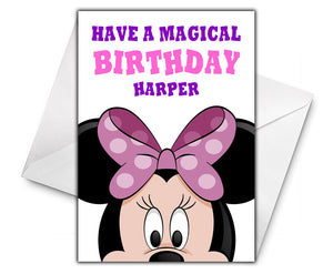 MINNIE MOUSE Personalised Birthday Card - Disney - D2