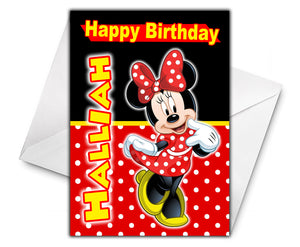 MINNIE MOUSE Personalised Birthday Card - Disney - D1