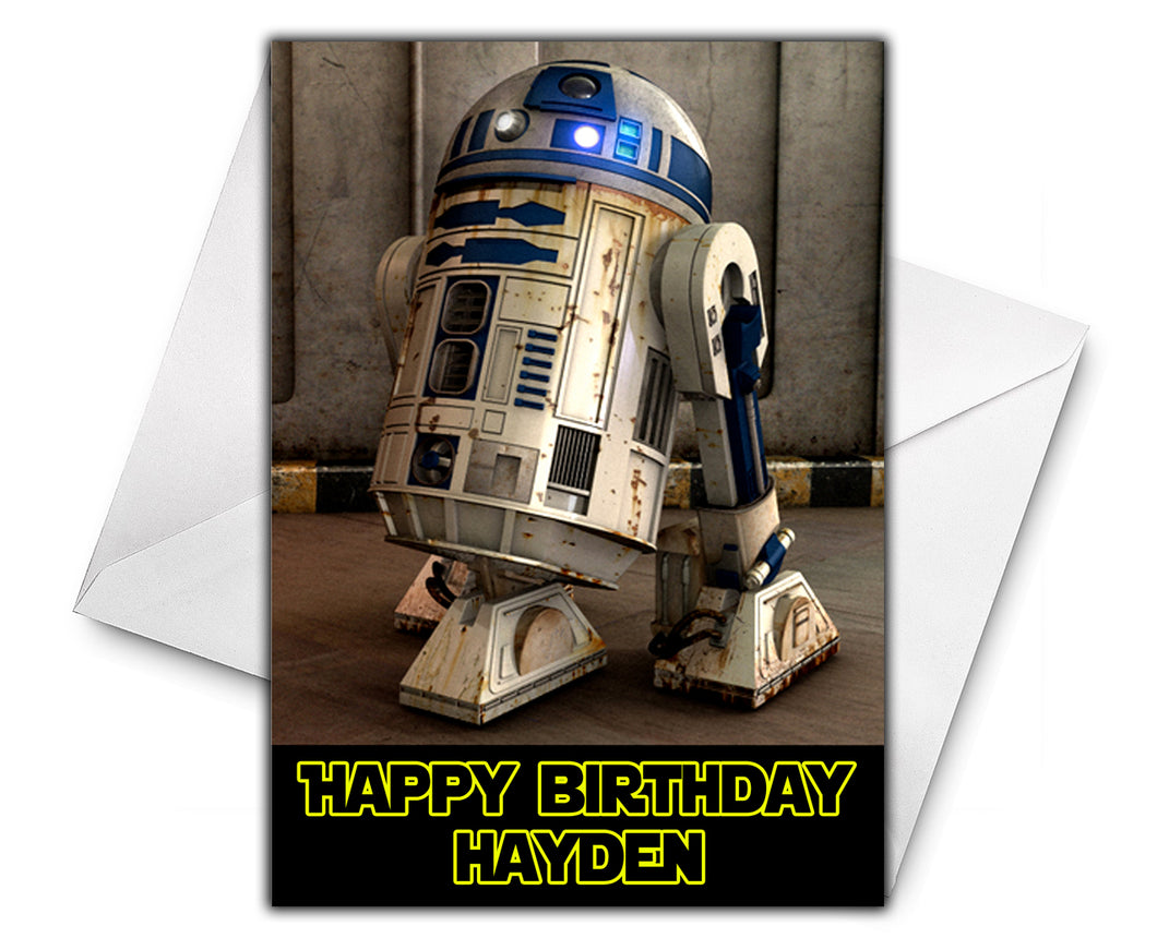 R2D2 STAR WARS Personalised Birthday Card - Disney