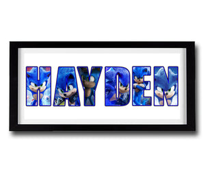 SONIC THE HEDGEHOG Personalised Name Print - Fully Framed