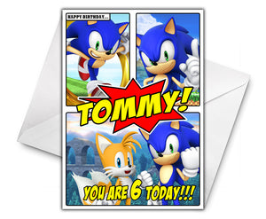 SONIC HEROES COMIC Personalised Birthday Card - Sega