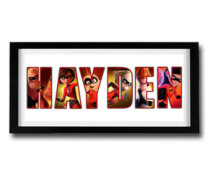 THE INCREDIBLES Personalised Name Print - Fully Framed - Disney