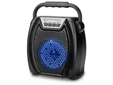 Rechargeable Portable Bluetooth® LED Speaker with Wired Mic