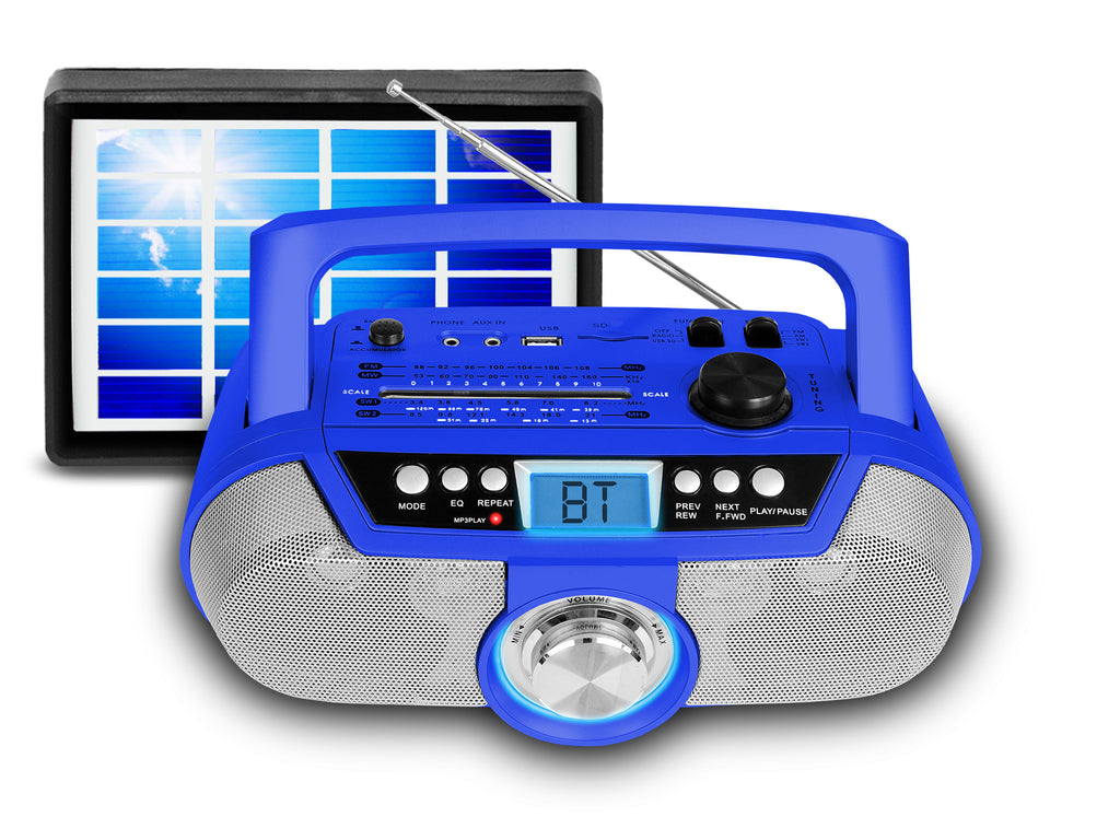 Rechargeable Bluetooth Portable Solar Powered Speaker with USB /SD Inputs