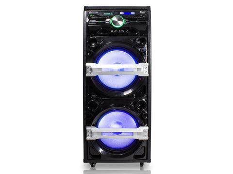 "Double 12"" Bluetooth Tower Speaker with Electric Drum Pads"