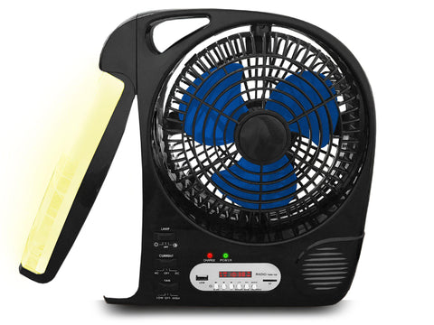 Rechargeable Fan with Speaker & Lamp