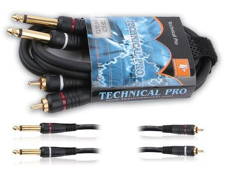 "Technical Pro - Dual 1/4"" to Dual RCA Audio Cables"