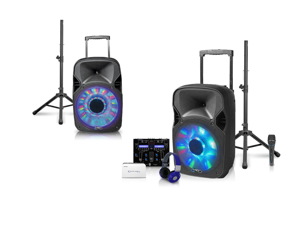 "Technical Pro - Rechargeable Dual 12"" LED DJ Loudspeaker Package"