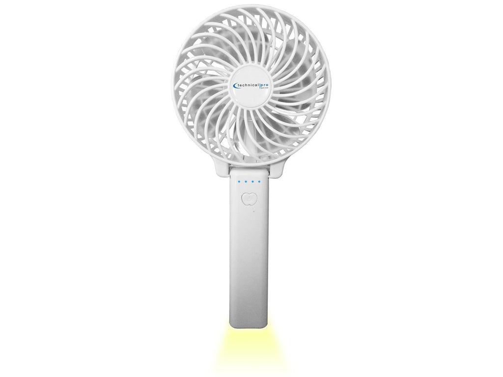 Technical Pro - Rechargeable Multi Speed Handheld Fan with LED Light