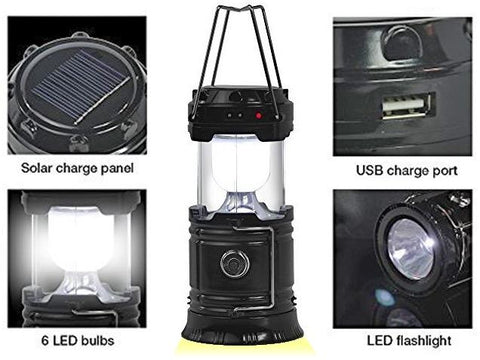Rechargeable Outdoor Camping LED Lantern, 5 in 1 Multifunction Unit