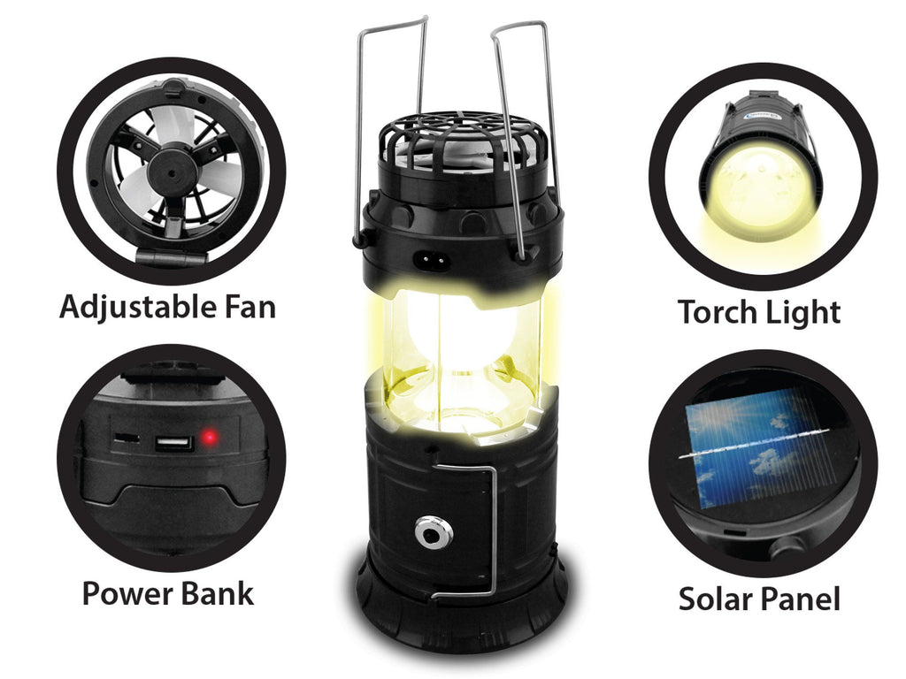 Technical Pro Rechargeable Outdoor Camping Led Lantern 5 In 1 Powerbank Portable Fan 2 Multifunction Unit