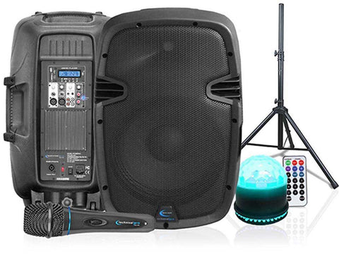 "Rechargeable 2 x 10"" Bluetooth Speaker with DVD Player, Wireless Mic & Tripod"