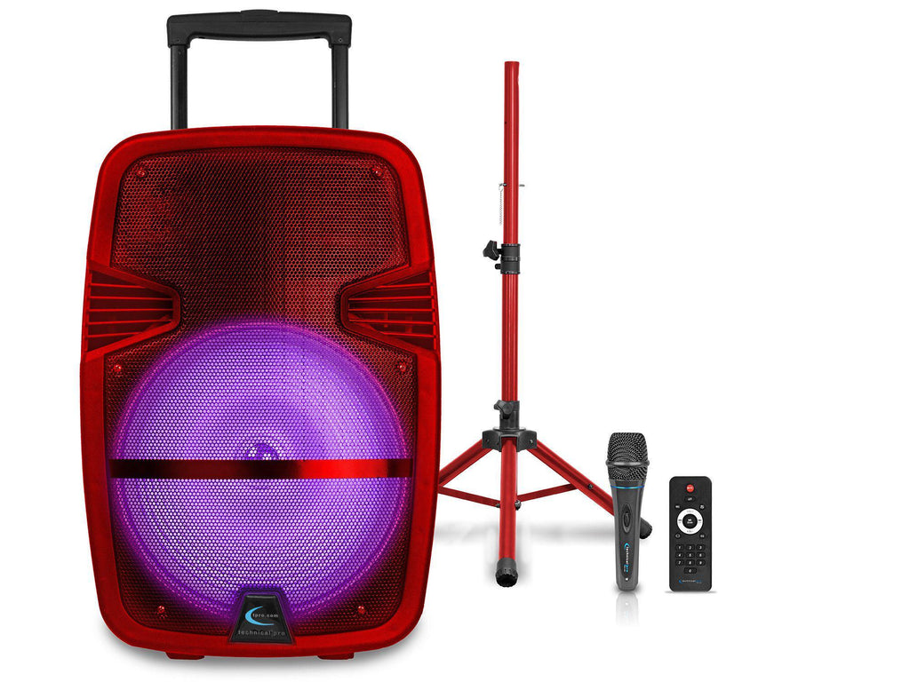 "Technical Pro - Rechargeable 15"" LED Loudspeaker Package in Red or Blue"