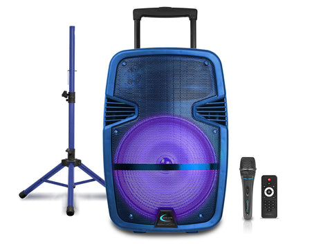 Bluetooth Powered Speaker System with Wireless Microphone