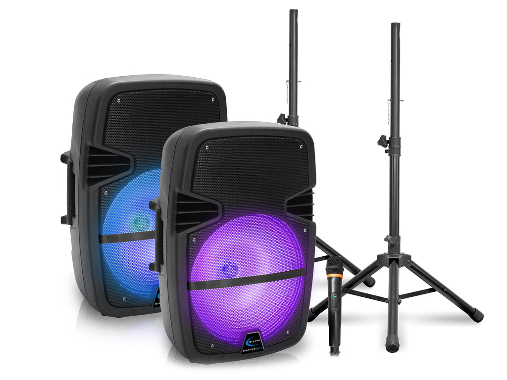 "Rechargeable Pair of 10"" Bluetooth LED Speakers with USB / TF Card Inputs & Wireless Mic"