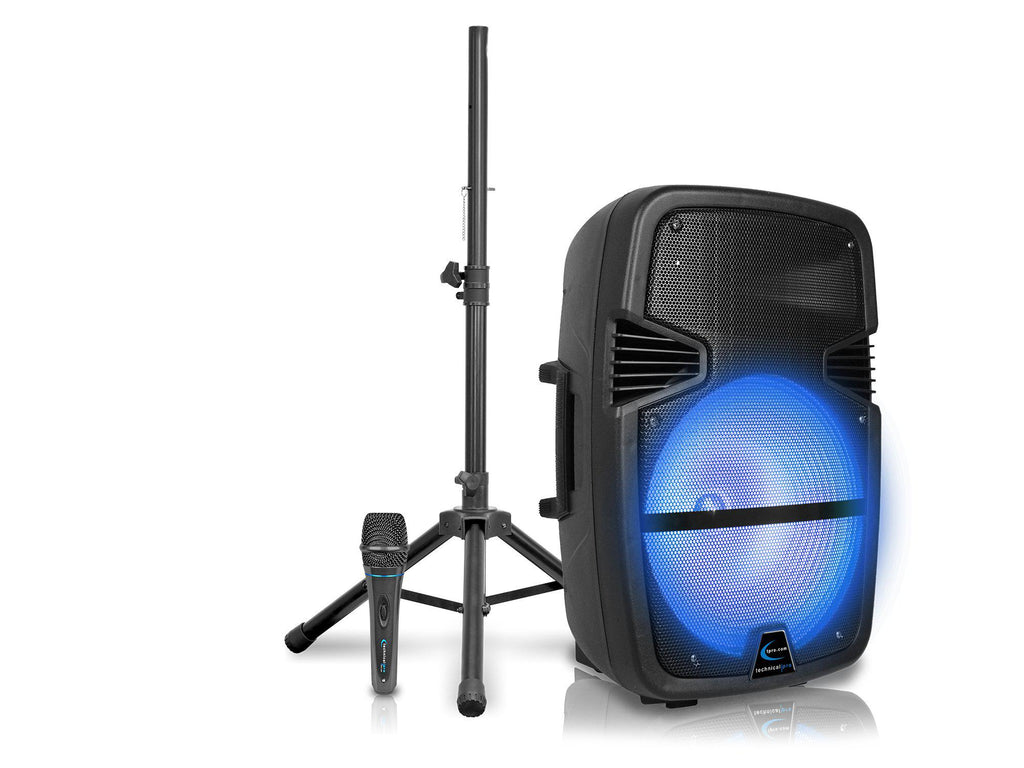 "Rechargeable 15"" Bluetooth LED Speaker Package with Tripod & Microphone"