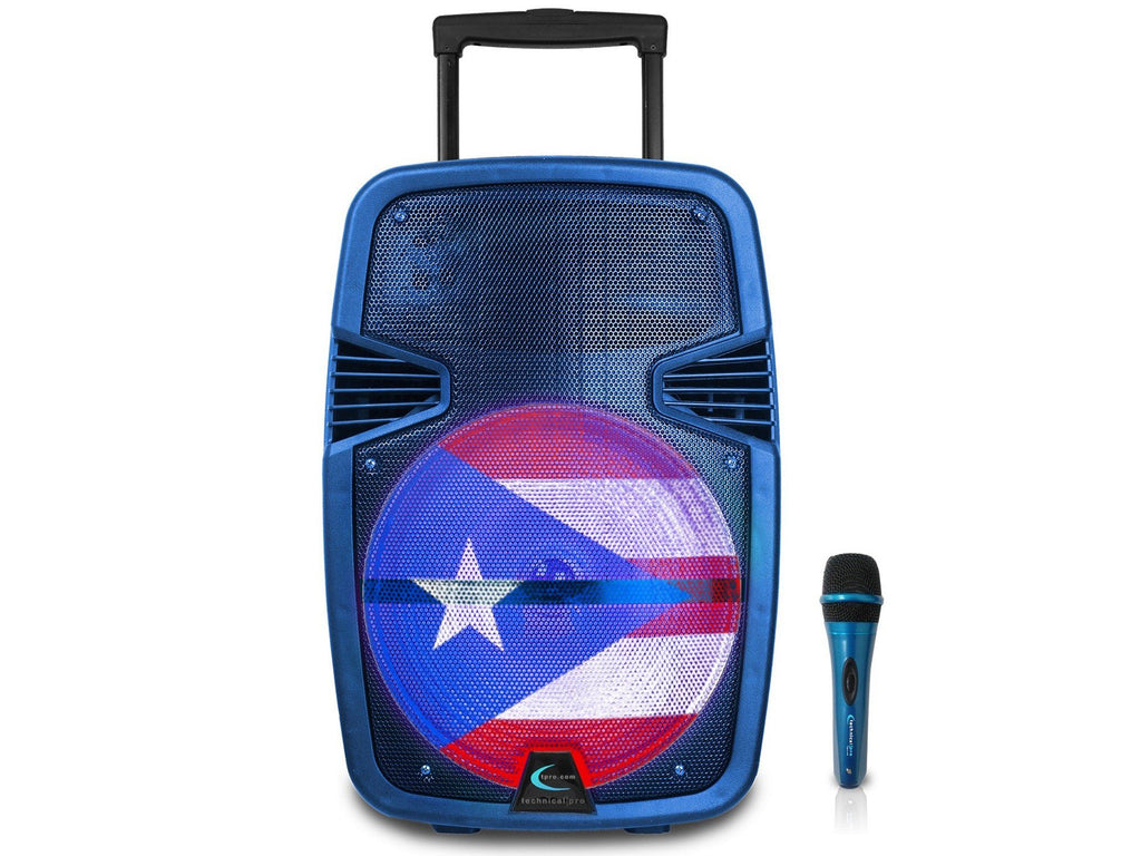 "Rechargeable 12"" LED Active Puerto Rico Flag Loudspeaker"