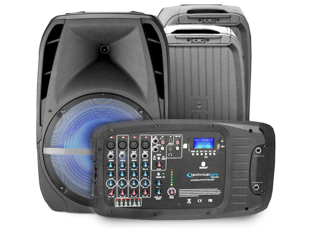 "Technical Pro - 10"" LED Loudspeaker Set with 2 Mics"