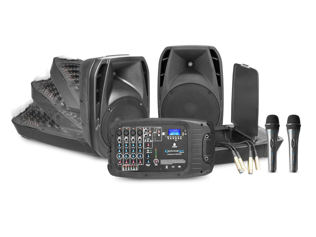 "10"" LED Loudspeaker Set with 2 Mics"
