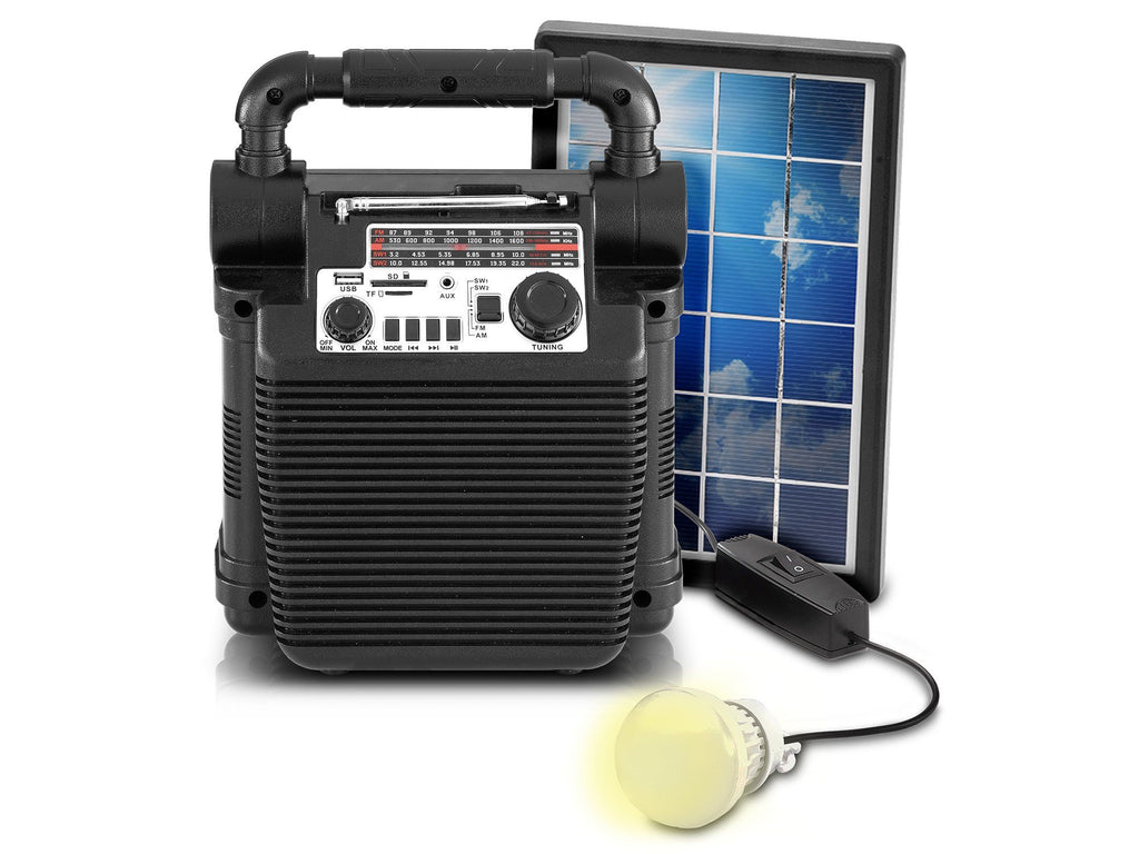 9-in-1 Solar-powered Bluetooth Speaker lighting unit with power bank & radio
