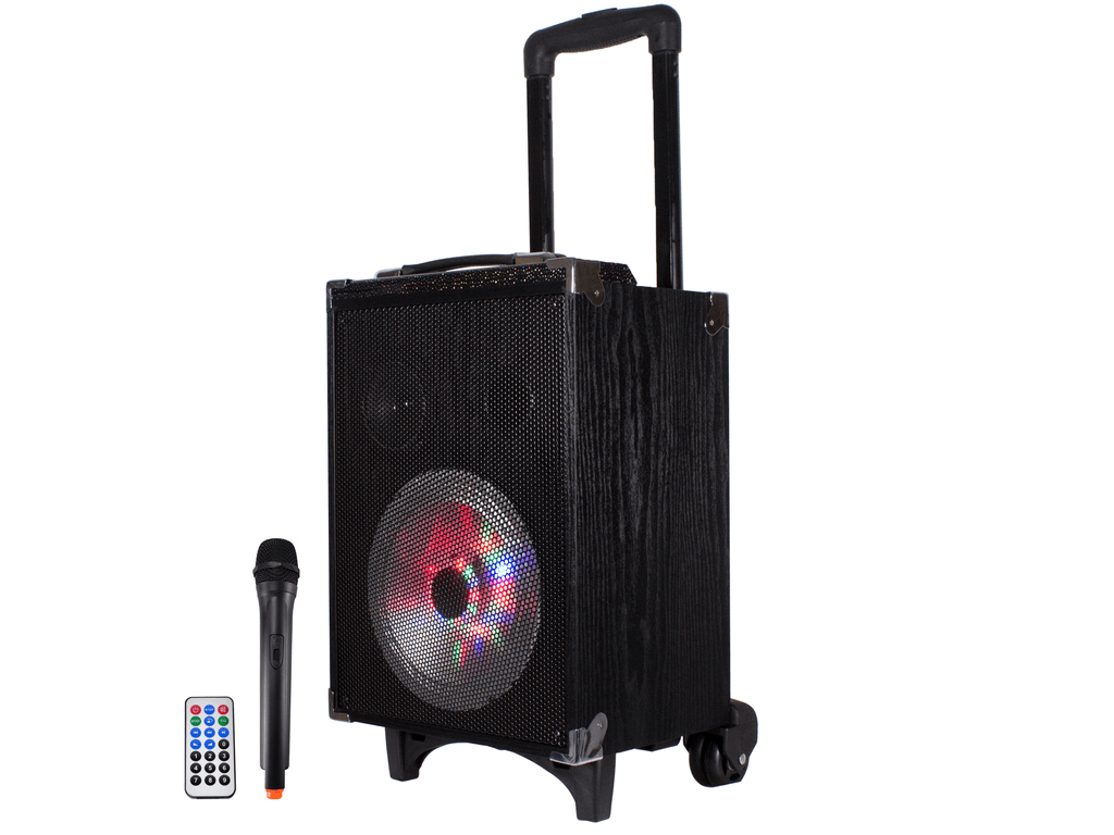 Rechargeable Portable Bluetooth® Speaker with Retractable Mic Stand