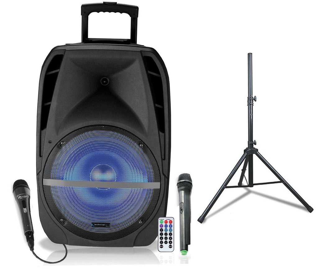 "Rechargeable 12-15"" Active Loudspeaker with LED and Package Option"