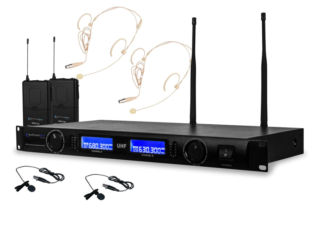 Technical Pro - Dual UHF Wireless Microphone Lapel & Headset System