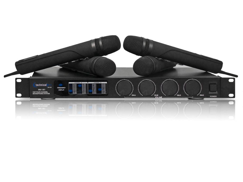 Technical Pro - Pro VHF Quad Wireless Microphone System