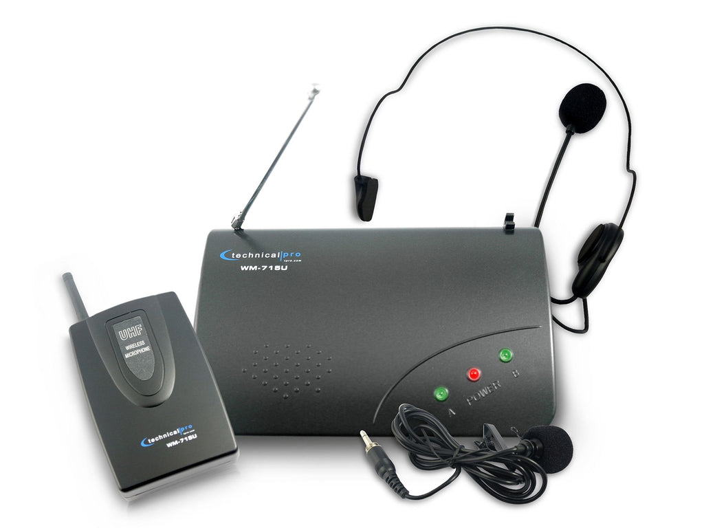 Technical Pro - Single UHF Headset & Lapel Microphone System