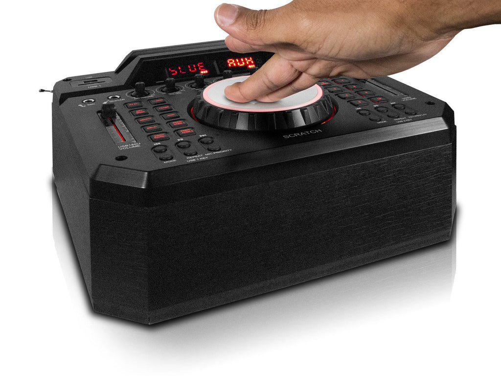 Rechargeable Bluetooth Speaker System with Built in Scratching DJ Mixer & Party LED Lights