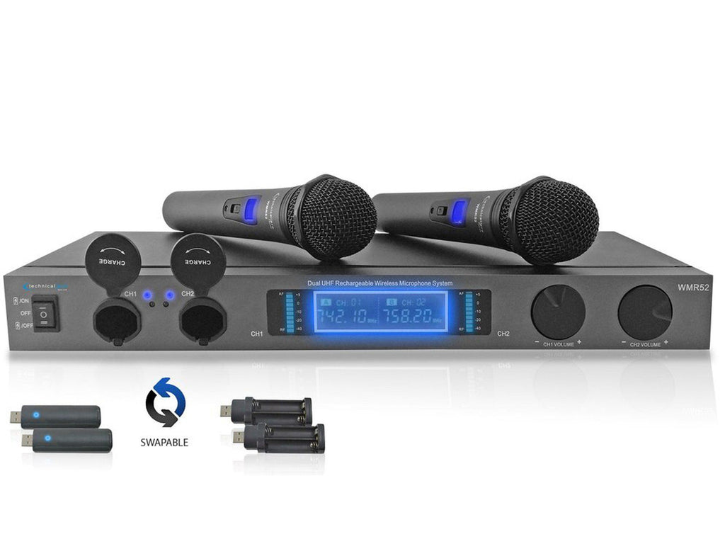 technical pro tehnical pro rechargeable dual uhf wireless microphone system technical pro. Black Bedroom Furniture Sets. Home Design Ideas