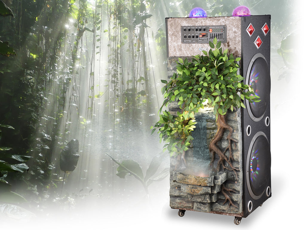 "2 x 15"" Bluetooth Speaker with Rainforest WaterFall & Misting Front"