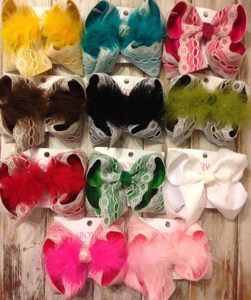 Lace, Classy, Vintage hair bow | piggies | medium | large | Mega available