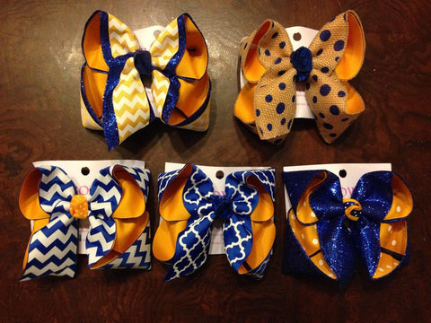 yellow gold and Royal school bows~ Live Oak school